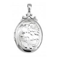 Sterling Silver Engraved Floral Locket - Leona