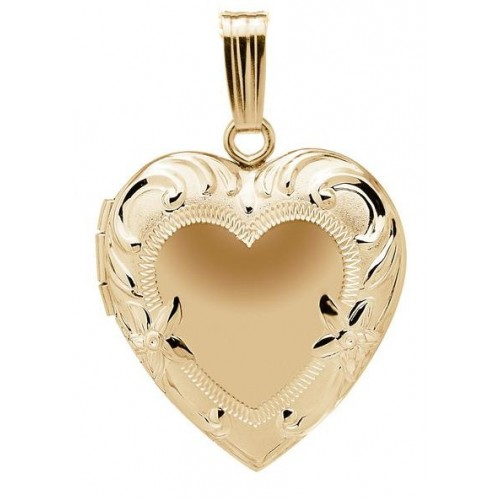 14k Yellow Gold Floral Heart Locket - Juliet