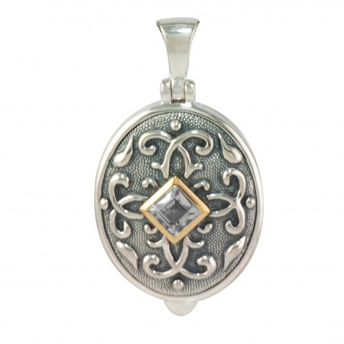Sterling Silver Round Oval Locket w/ Diamond - Isabelle