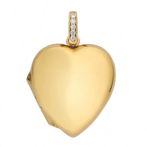18k Yellow Gold Heart Locket w/ Diamond Accent