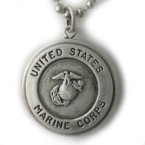 Silver U.S. Marine Corps Round Locket