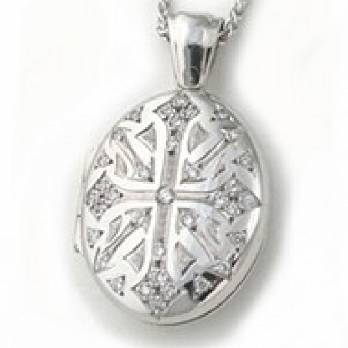 18k White Gold Victorian Diamond Oval Locket - Verity