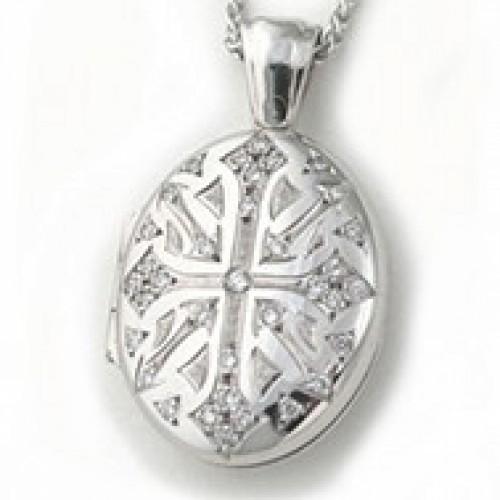 18k White Gold Victorian Diamond Oval Locket - Verity