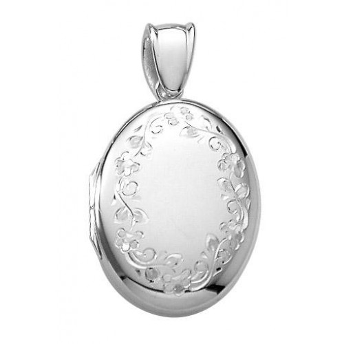 Sterling Silver Engraved Oval Locket - Julia