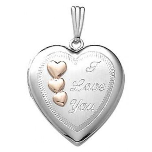 14k White Gold ' Love ' Heart Locket