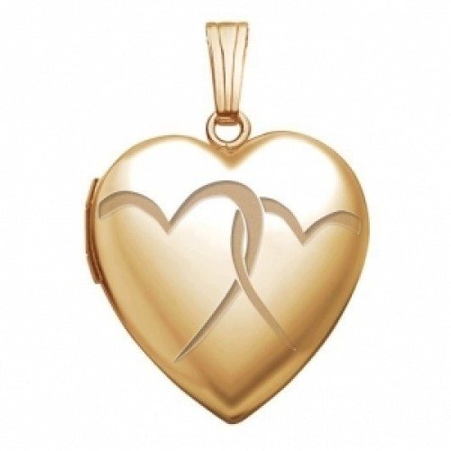14K Gold Interlocking Hearts Photo Locket