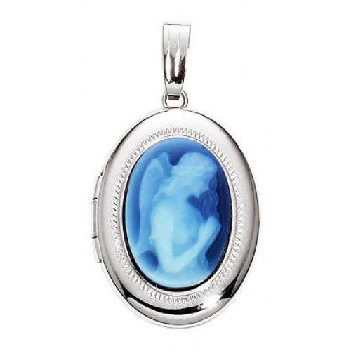 14k White Gold Agate Silhouette Oval Locket