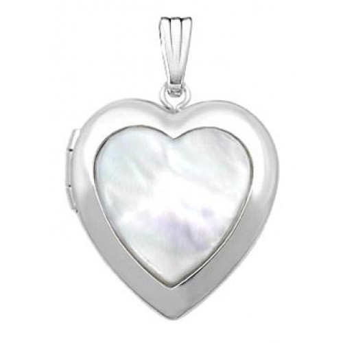 Sterling Silver Mother of Pearl Heart Locket - Shelly