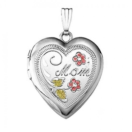 "Sterling Silver Enameled ""Mom"" Heart Locket"