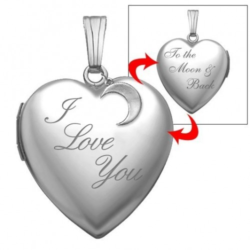 "Sterling Silver "" I Love You To The Moon & Back"" Heart Photo Locket"