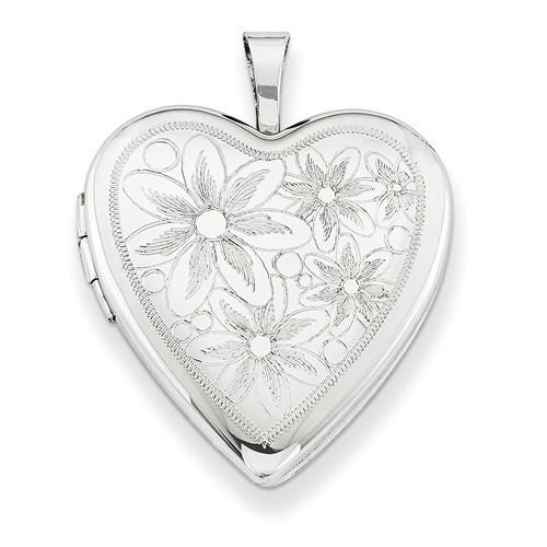 Sterling Silver Floral Heart Locket