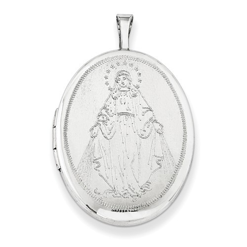 Sterling Silver Blessed Mother Mary Oval Locket