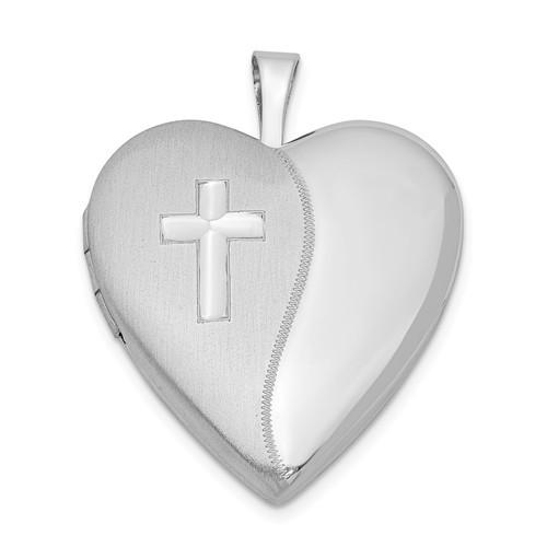 Sterling Silver Satin and Polish Cross Heart Photo Locket