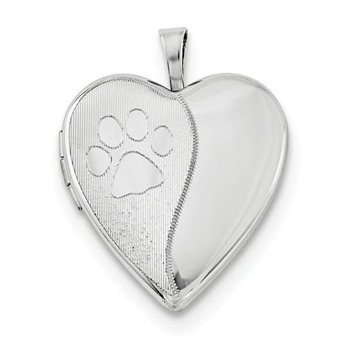 Sterling Silver Paw Print Heart Photo Locket