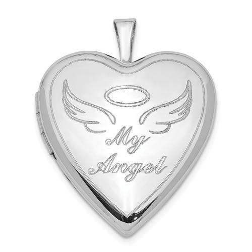 """Sterling Silver """"My Angel"""" Heart Photo Locket"""