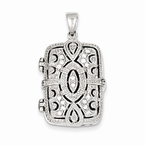 Sterling Silver Vignette Rectangle Locket - Larissa
