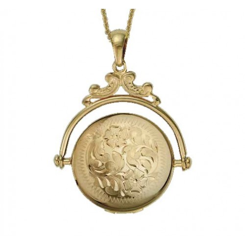 14k Yellow Gold Revolving Oval Locket - Elizabeth