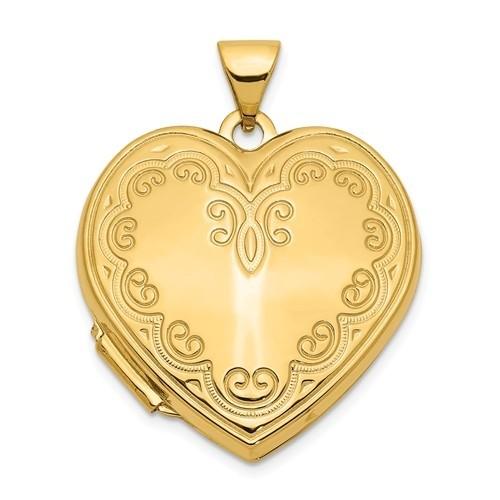 14K Gold Floral Heart Photo Locket